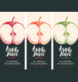 labels for apple juice with apple and inscription vector image