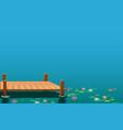 landscape wooden bridge on lotus swamp in d vector image vector image