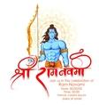 Lord Rama in Ram Navami background vector image vector image