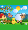 meadow with happy spring animals vector image