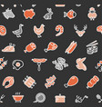 meat butchery signs thin line seamless pattern vector image vector image