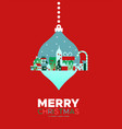 merry christmas card winter city ornament vector image