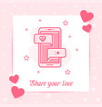 mobile phone love chat message valentine card icon vector image