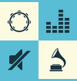 Music icons set collection of phonograph timbrel vector image