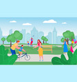 parents with children in park together vector image vector image