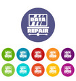 pc data repair icons set color vector image vector image
