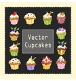 pixeled cupcakes vector image vector image