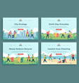 plastic recycle landing page family characters vector image vector image