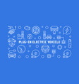 plug-in electric vehicle outline horizontal vector image