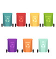recycle bins set and garbage types separation of vector image