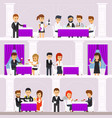 restaurant interior with people resting people vector image vector image