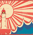 Seascape horizon with lighthouse on old vintage vector | Price: 1 Credit (USD $1)