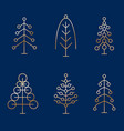 set of abstract minimalistic golden christmas vector image