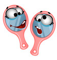 set of funny laughing hand mirror isolated on vector image vector image