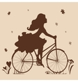 Silhouette of a girl on a bike in brown tones vector image vector image
