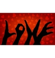 Silhouette woman hand Word love vector image
