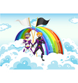 Superheroes in the sky near the rainbow vector image vector image