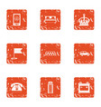 taxi stand icons set grunge style vector image vector image