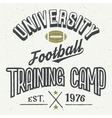 University football training camp t-shirt vector image vector image