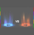 versus round blue and red glow rays night scene vector image vector image