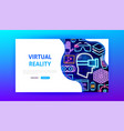 virtual reality neon landing page vector image