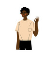 young african american man showing okay or ok sign vector image vector image