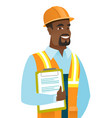 african builder holding clipboard with papers vector image vector image