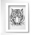 artwork of tiger face portrait head silhouette vector image vector image