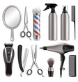 barber tools set realistic isolated vector image