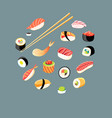 beautiful set different sushi vector image vector image