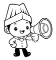 black and white funny chef mascot apprised the vector image vector image