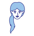 blue silhouette of woman with ponytail hairstyle vector image vector image