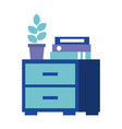 cabinet furniture office binders and plant vector image