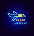 cargo airplane neon label vector image