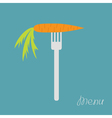 Carrot on fork Diet concept Menu cover Flat design vector image vector image