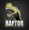 cartoon emblem of dinosaur on a dark background vector image vector image