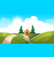 cartoon landscape tent sun fir cloud road vector image vector image