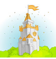 cartoon medieval fun pink castle with orange flag vector image vector image