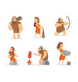 characters of male and female primitive cave vector image vector image