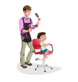 children barber with little boy vector image vector image
