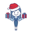 Christmas character girl with presents vector image