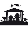 christmas nativity silhouette vector image