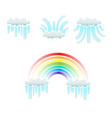 clouds and rainbow set vector image vector image