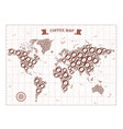 coffee world map with wind rose vector image