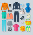 Color Woman Clothes Flat Icons Set vector image