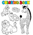 coloring book with tropic animals 2 vector image vector image