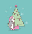 cute christmas penguin with tree pine decoration vector image