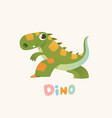cute green cartoon baby dino bright colorful vector image