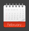 february 2019 calendar leaf template vector image