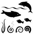 Fish silhouettes set 1 vector | Price: 1 Credit (USD $1)